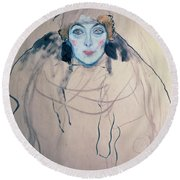 Head Of A Woman Round Beach Towel