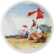 Head  Of The Meadow Beach, Afternoon Round Beach Towel