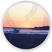 Round Beach Towel featuring the photograph Heading Out by  Newwwman
