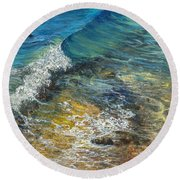 Round Beach Towel featuring the painting Heading Out To Sea by Darice Machel McGuire