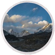 Round Beach Towel featuring the photograph Heading To Everest Base Camp by Mike Reid
