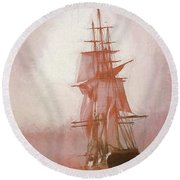 Round Beach Towel featuring the photograph Heading To Salem From The Sea by Jeff Folger