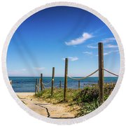 Round Beach Towel featuring the photograph Heading To The Sea. by Gary Gillette