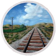 Heading West Round Beach Towel by Laurie Morgan