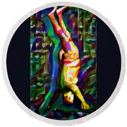 Headstand Naked Unconventional Figure Portrait Painting Bright Colorful Gymnastics Old Man Nude Male Men Athletic Stomach Fat Feet Head Hands Rainbow Round Beach Towel by MendyZ