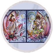 Healing Art - Musical Ganesha And Saraswati Round Beach Towel
