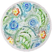 Round Beach Towel featuring the painting Healing Garden by Monique Faella
