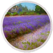 Impressionistic Lavender Field Landscape Plein Air Painting Round Beach Towel