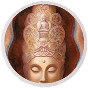 Healing Tara Round Beach Towel by Sue Halstenberg