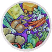 Health Food For You Round Beach Towel