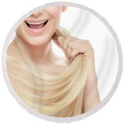 Healthy Hair Concept Round Beach Towel