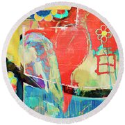 Heart And Flowers Round Beach Towel by Susan Stone