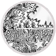 Heart And Star Abstract Round Beach Towel
