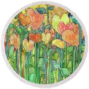 Round Beach Towel featuring the mixed media Heart Bloomies 1 - Golden by Carol Cavalaris