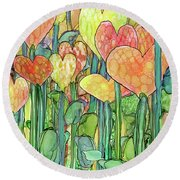 Round Beach Towel featuring the mixed media Heart Bloomies 2 - Golden by Carol Cavalaris