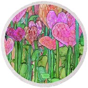 Round Beach Towel featuring the mixed media Heart Bloomies 2 - Pink And Red by Carol Cavalaris