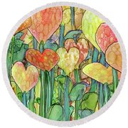 Round Beach Towel featuring the mixed media Heart Bloomies 3 - Golden by Carol Cavalaris