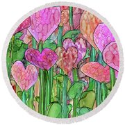 Round Beach Towel featuring the mixed media Heart Bloomies 3 - Pink And Red by Carol Cavalaris