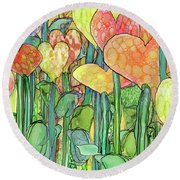 Round Beach Towel featuring the mixed media Heart Bloomies 4 - Golden by Carol Cavalaris