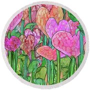 Round Beach Towel featuring the mixed media Heart Bloomies 4 - Pink And Red by Carol Cavalaris