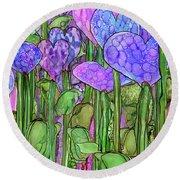 Round Beach Towel featuring the mixed media Heart Bloomies 4 - Purple by Carol Cavalaris