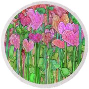 Round Beach Towel featuring the mixed media Heart Bloomies 1 - Pink And Red by Carol Cavalaris
