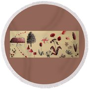 Heart Cottage Red 3 Round Beach Towel
