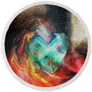 Round Beach Towel featuring the digital art Heart Deep by Linda Sannuti