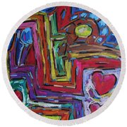 Round Beach Towel featuring the pastel Heart Felt Treasure II by Dianne  Connolly