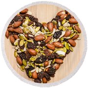 Heart Healthy Snacks Round Beach Towel