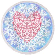 Heart In A Snowflake II Round Beach Towel