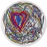 Heart In Motion Abstract Round Beach Towel