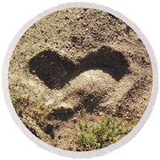 Heart In The Sand Round Beach Towel