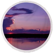 Round Beach Towel featuring the photograph Heart In The Sky by Alana Ranney