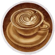Round Beach Towel featuring the painting Heart Latte by Hailey E Herrera