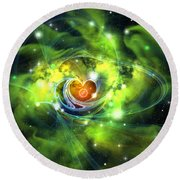 Heart Nebula Round Beach Towel