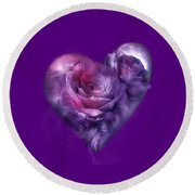 Round Beach Towel featuring the mixed media Heart Of A Rose - Lavender Blue by Carol Cavalaris
