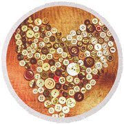 Heart Of A Tailor Round Beach Towel