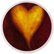 Heart Of Gold 1 Round Beach Towel
