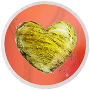 Heart Of Gold Round Beach Towel