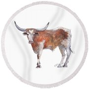 Heart Of Texas Longhorn Round Beach Towel