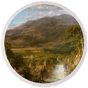 Round Beach Towel featuring the painting Heart Of The Andes by Frederic Edwin Church