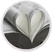Heart Of The Book  Round Beach Towel