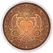 Heart Of Wisdom Mandala Round Beach Towel by Cristina McAllister