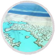 Heart Reef Round Beach Towel by Az Jackson