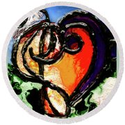 Round Beach Towel featuring the painting Heart Robin Treble by Genevieve Esson