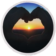 Round Beach Towel featuring the photograph Heart Shaped Hand Silhouette - Sunset At Lapham Peak - Wisconsin by Jennifer Rondinelli Reilly - Fine Art Photography