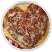 Heart Shaped Pizza Round Beach Towel by Garry Gay