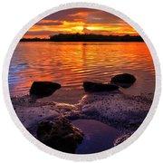 Heart Shaped Pool At Sunset Over Lake Worth Lagoon On Singer Island Florida Round Beach Towel