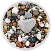 Heart-shaped Stone Round Beach Towel